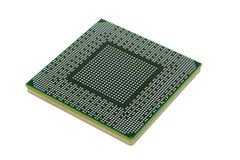 Back of modern microprocessor isolated on pure whi Stock Photos