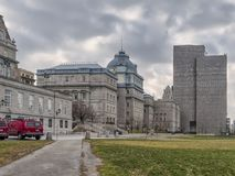 Back of Montreal City Hall. The five-story Montreal City Hall French: Hôtel de Ville de Montréal is the work of architects Henri-Maurice Perrault and royalty free stock photography