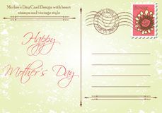 Back of Mother's Day Card in a Vintage Style Royalty Free Stock Photos