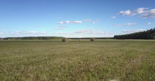 Back motion close over harvested meadow from round hay bales stock video footage