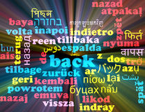 Back multilanguage wordcloud background concept glowing Royalty Free Stock Photos