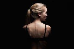 back naked woman young κορίτσι αθλητικών σωμάτων στοκ εικόνα