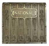 Back of a National cash register. Close royalty free stock image
