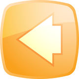 Back navigation icon. Glossy button, square shape Stock Photography