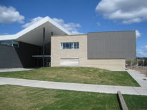 Back of the new school. Modern architecture showing the back of a school building recently built Stock Images
