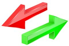 Back and Next arrows. 3d red and green shiny signs. Vector illustration isolated on white background Royalty Free Illustration