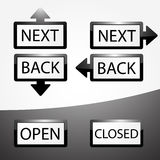 Back, Next, Open and Closed buttons set Royalty Free Stock Images