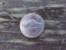 The back of a nickel Stock Photography