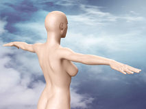 Back of a nude young woman with bald head Royalty Free Stock Photography