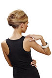 Back Of Beautiful Woman In Black Dress. Royalty Free Stock Photography