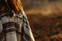 Free Back Of Native Indian American Woman Walking In Mountains In Eve Stock Image - 90474291