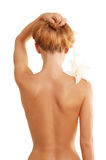 Back Of Nude Beautiful Girl With Flower Stock Image