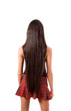Back Of Slim Brunette Female With Long Hair Stock Image