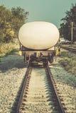 Back of oil train, fuel tank vintage Stock Images