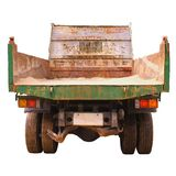 Back of old dump truck isolated on white Stock Image