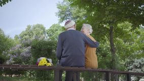 Back of old man sit in the bench in the park with bouquet of yellow flowers and hug woman with grey hair. Woman put her. Head on males shoulder. Romantic couple stock video footage