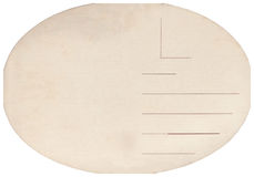 Back of an old postcard. Old postcard isolated on the white background. Can be used as background royalty free stock image