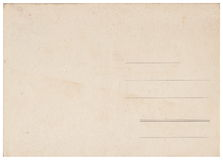 Back of an old postcard. Old postcard isolated on the white background. Can be used as background royalty free stock images