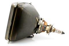 Back of old television cathode tube. On white royalty free stock photos