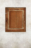 Back of old wooden picture frame on old wall Royalty Free Stock Image