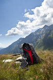 Back pack in the mountains Royalty Free Stock Photography