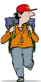 Back packer. Man walking with a heavy rucksack Stock Photography