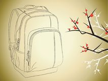 Back Packer in Japan Vector Art and Illustration. For many purpose such as educational picture for slide presentation, book cover and illustration, website Royalty Free Illustration