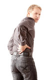 Back pain. Man with back pain isolated Stock Images