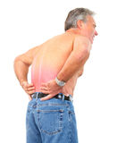 Back pain. Man having back pain. Isolated over white background Stock Photo