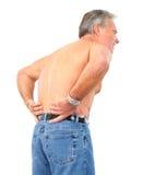 Back pain. Man having back pain. Isolated over white background stock photo