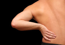 Back pain. The man having back pain Royalty Free Stock Images