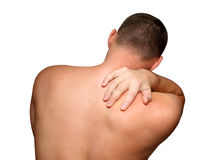 Back pain. Young man with pain back isolated on white Royalty Free Stock Images
