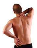 Back pain. Young caucasian man with pain in a back isolated on white Stock Photography