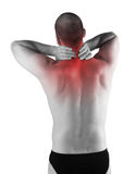 Back pain. Red detail on back pain zone, male body Royalty Free Stock Photography
