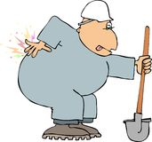 Back Pain. This illustration depicts a construction worker with back pain Stock Image