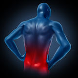 Back pain. Lower back pain represented by a human body with dorsalgia disease highlighted in red showing chronic spinal medical symptoms that relate to weakness Stock Photos