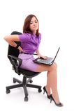 Back pain. Business woman with back pain after long work on chair Royalty Free Stock Images