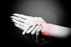 Back pain. On black background Royalty Free Stock Photo