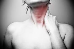 Back pain. On grey background Royalty Free Stock Photo