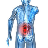Back pain. Man suffering badly of back pain, 3D generated Stock Image