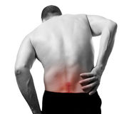 Back pain. Young man have back pain Royalty Free Stock Photography