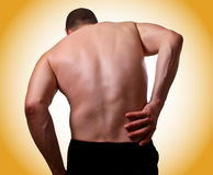 Back pain. Fine image of young man with pain in the back Stock Photos