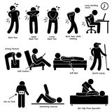 Back Pain Backache Pictogram Clipart. A set of human pictogram depicting the back pain problem due to various lifestyle posture. There are also method to relief Royalty Free Stock Image