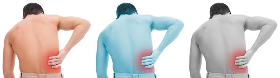 Back pain collage. Young man having pain in his back Royalty Free Stock Images