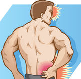 Back Pain. Drawing of severe back pain Royalty Free Stock Image