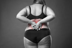 Back pain, fat woman with backache, overweight female body on gray background. Black and white photo with red spots Stock Image