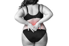 Back pain, fat woman with backache, overweight female body isolated on white background Royalty Free Stock Image