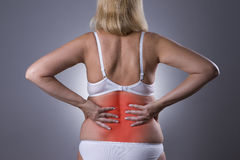 Back pain, kidney inflammation, ache in woman`s body stock photo