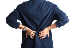 Back pain. Man back pain (hand hold lower back), isolated on white Royalty Free Stock Photos