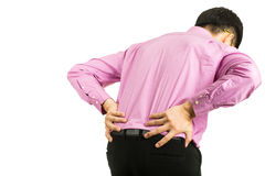 Back pain man. With white background Royalty Free Stock Photos